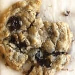close up of chocolate chip oatmeal cookie