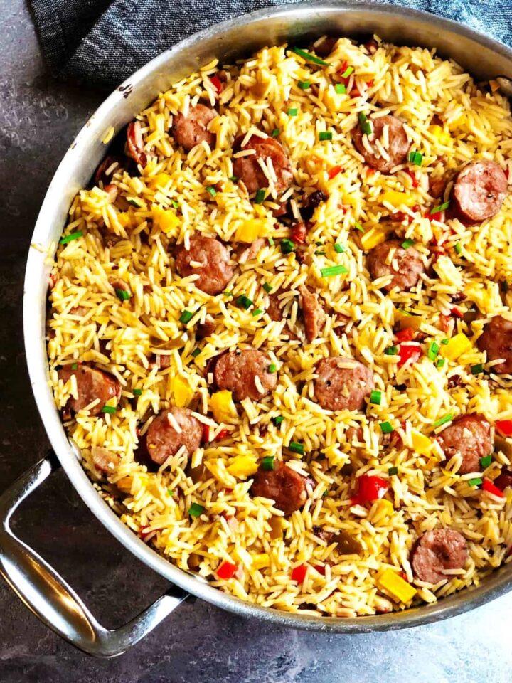 sausage jambalaya top view