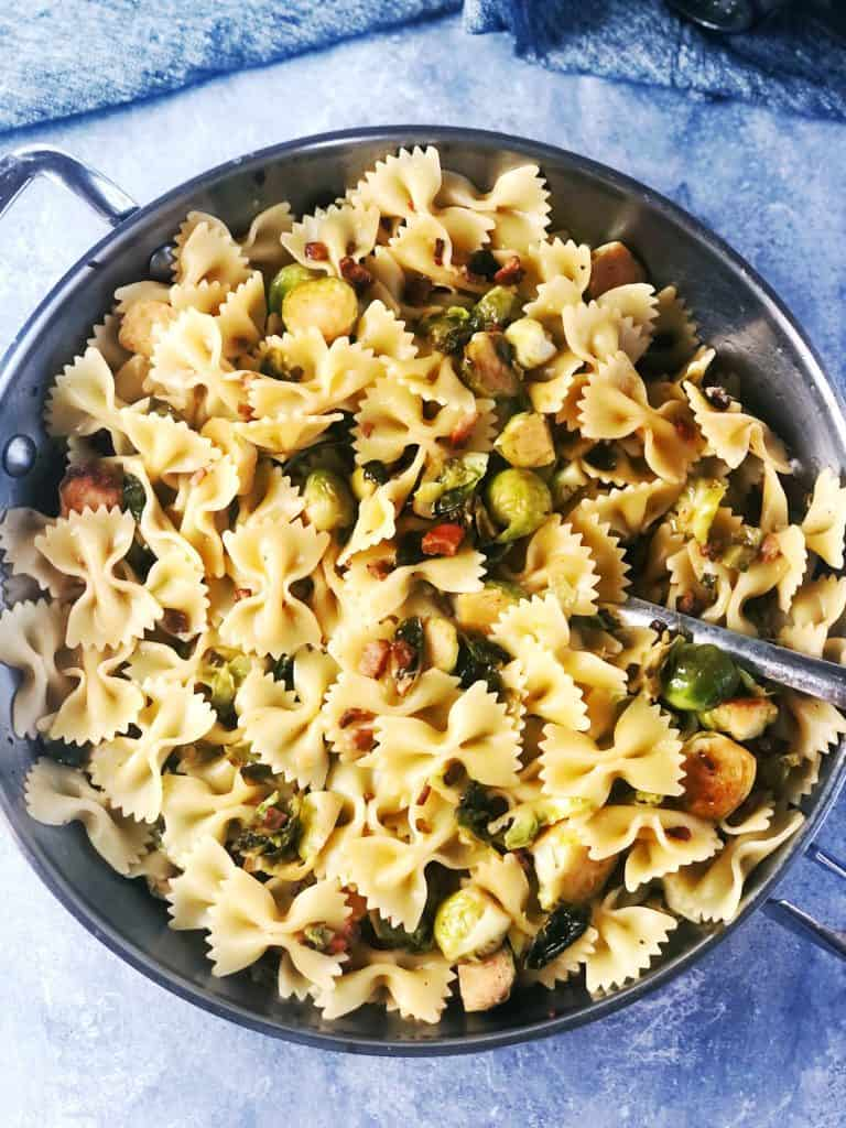 Farfalle with Brussels sprouts and pancetta